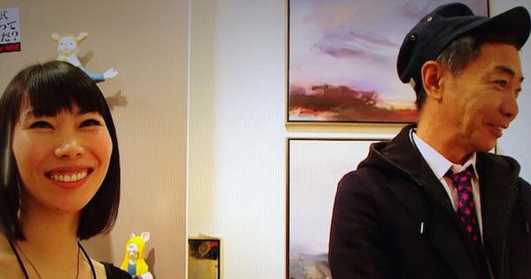 NY在住画家Fumiko、、、NYのアートフェアーでのFumikoがテレビに映りました。